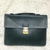 Authentic Louis Vuitton Green Taiga Leather Medium Briefcase 15in x 11in x 2in