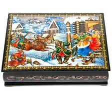 Russian Palekh Style Lacquer Box with Winter Theme, Handmade Keepsake