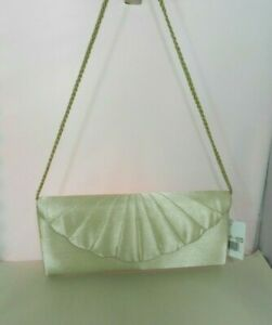 Jessica McClintock Womens Clutch Handbag Satin Champagne NWT