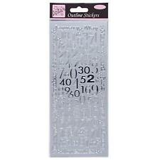 Anitas Outline Stickers Peel off Craft Art Card Making Silver Months and Numbers