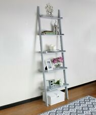 Grey Ladder Shelving Unit 5 Tier Display Stand Book Shelf Wall Rack Storage