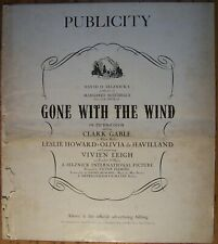 GONE WITH THE WIND, Clark Gable, David Selznick, 1939 Pressbook