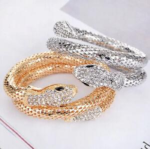 Snake Design Bracelet Ladies Women Silver Gold Sparkly Crystal Charm Bangle Gift