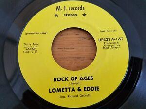 "LOMETTA & EDDIE - Rock of Ages 1971 MONO PROMO Gospel R&B Soul 7"""