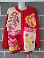 Vintage Alexandra Bartlett Valentines Cardigan Sweater Handcrafted Knit Hearts M