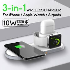 3in1 Qi Inalámbrico Cargador estación base de carga para airpods/Reloj/iPhone de Apple