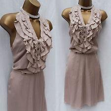 Karen Millen Nude Silk Ruffle Frill KM Button Front Belted Shirt Dress 14-12 UK