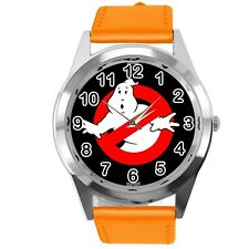 GHOSTBUSTERS FILM SCIFI MOVIE CD DVD ORANGE REAL LEATHER STAINLESS STEEL WATCH