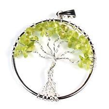 Baum des Lebens Peridot - Anhänger 50 mm groß - Lebensbaum mit silberner Öse 25