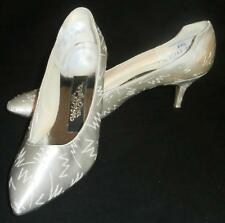 "WILD NIGHTS White Silver Shoes 6.5B M Vintage Wedding Bridal Prom 3"" Kitten Heel"