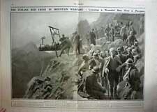 1917 Italian Red Cross Transporting Telerifico Stretcher Case, F Matania Artwork