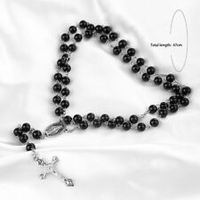 Nice Mens Cross Pendant Black Pearls Rosary Beads Necklace Silver tone HS