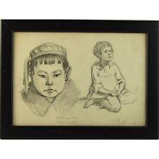 Original Signé Encadré ukrainien social réaliste portrait dessin soviétique Enfants
