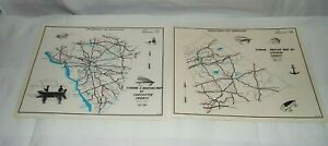 2 1970 PENNA.FISH COMMISSION FISHING-BOATING MAPS OF LANCASTER & LEBANON COUNTY