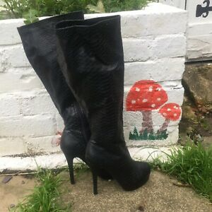 Just Fabulous Black Faux Leather Thigh High 5 Inch Stiletto Dominatrix Boots Sz3
