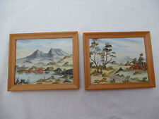 2 FRAMED MINIATURE OIL PAINTINGS - Cradle Mountain & Gunns Plains Tasmania