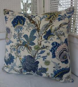 Mustard & Blue Jacobean Flowers Linen Look Hamptons Coastal Cushion Cover 45