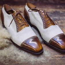 Men's handmade two tone leather lace up dress shoes beige and brown toe cap shoe