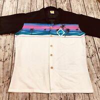 Sundek Mens Vtg Hawaiian Shirt L Large Aloha 70s Button Front Short Sleeve