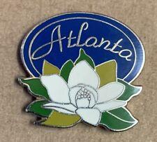 Atlanta Pin enamel brass vintage lapel hat rare blue white green retro floral