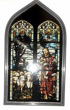 """Vintage Stained Glass Jesus with Sheep -Arch Window Suncatcher/ Metal Frame 9.5"""""""