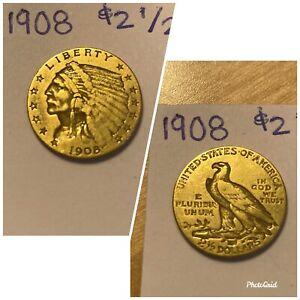 US Indian Head Quarter Eagle Gold Coins - 1908