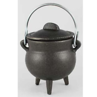 Small Black Cast Iron Cauldron w/ Lid Witch Ritual 3 Inch Pot Rustic Campifre