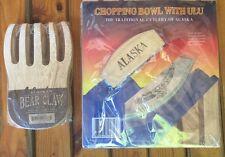 Alaska Wood Etched Ulu Knife Chopping Bowl Board And Alaska Salad Toss Claws