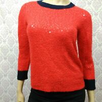 J Crew Red Scattered Sequin Sweater Womens Size M Merino Wool Blend Navy Trim