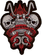 Patch Live Free and FAHR Quick 14x14cm Live Free Ride Hard Patch Skull