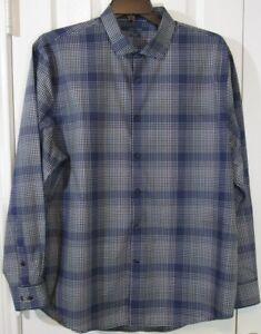 NWOT Perry Ellis Men's LS Black & Blue Plaid Dress Shirt, Non Iron, XXL