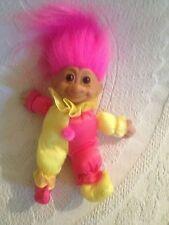"VTG 7"" Russ Troll Kidz Pink Yellow Clown Stuffed Plush Vinyl Cloth Doll"