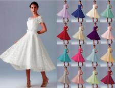 New Short Sleeve Lace Sweetheart Tea Length Wedding Bridesmaid Dresses Size 6-18