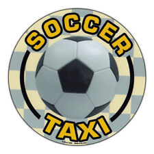 Magnetic Bumper Sticker - Soccer Taxi (Soccer Mom, Dad) - Round Shaped Magnet