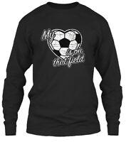 My Heart Is On That Field Soccer Ball Gildan Long Sleeve Tee T-Shirt