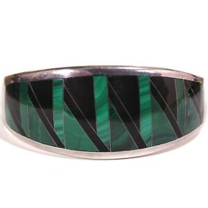 Malachite and Black Onyx Inlay 950 Sterling Silver Double Hinged Bangle Bracelet