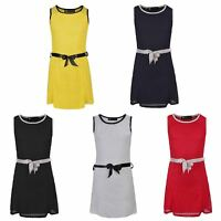 Girls Summer Sleeveless Dress Lace Texture Casual Party Top Belted 3-14 Years