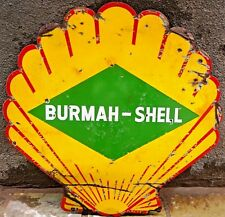 VINTAGE SHELL OIL COMPANY BURMAH-SHELL PETROL PUMP SIGN PORCELAIN ENAMEL GASOLIN