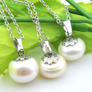 60% Off Best Price 3 Pieces Round Natural Pearl Gems Silver Necklace Pendants