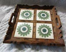 Vintage Wood & Tile Tray