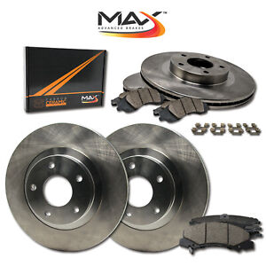 [FRONT+ REAR] OE Replacement Brake Rotors with Ceramic Pads & Hardware Kit