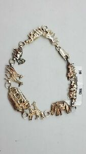 925 Silver Noah's Ark Animal Charm Bracelet km20