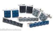 3 Pair GENUINE LEGO BRICK CUFFLINKS & TIE CLIP SET Retro Groomsmen Best Man Gift