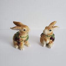Fitz and Floyd Blackberry Rabbit Bunny Berries Easter Salt Pepper Shakers Set