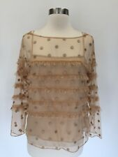 NEW J.Crew COLLECTION Tulle Top with Embroidered Polka Dots Blouse Gold 4 G5841