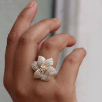 Natural 3.76 Ct. Diamond Pave Flower Design Cocktail Ring Solid 14k Yellow Gold