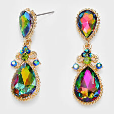 """BEAUTIFUL Victorian Gold Vitrail Crystal  2"""" Cocktail Earrings By Rocks Boutique"""