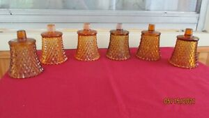 Lot of 6 Amber/Gold Diamond Cut Home Interior Votive Cups
