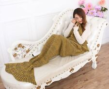MERMAID TAIL SOFA BLANKET WARM CROCHETED KNIT LAPGHAN CREWEL COVERLET YELLOW