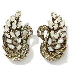 Heidi Daus A swan song Crystal Earrings Opal/Luminous Green PIERCED SWAROVSKI!!!